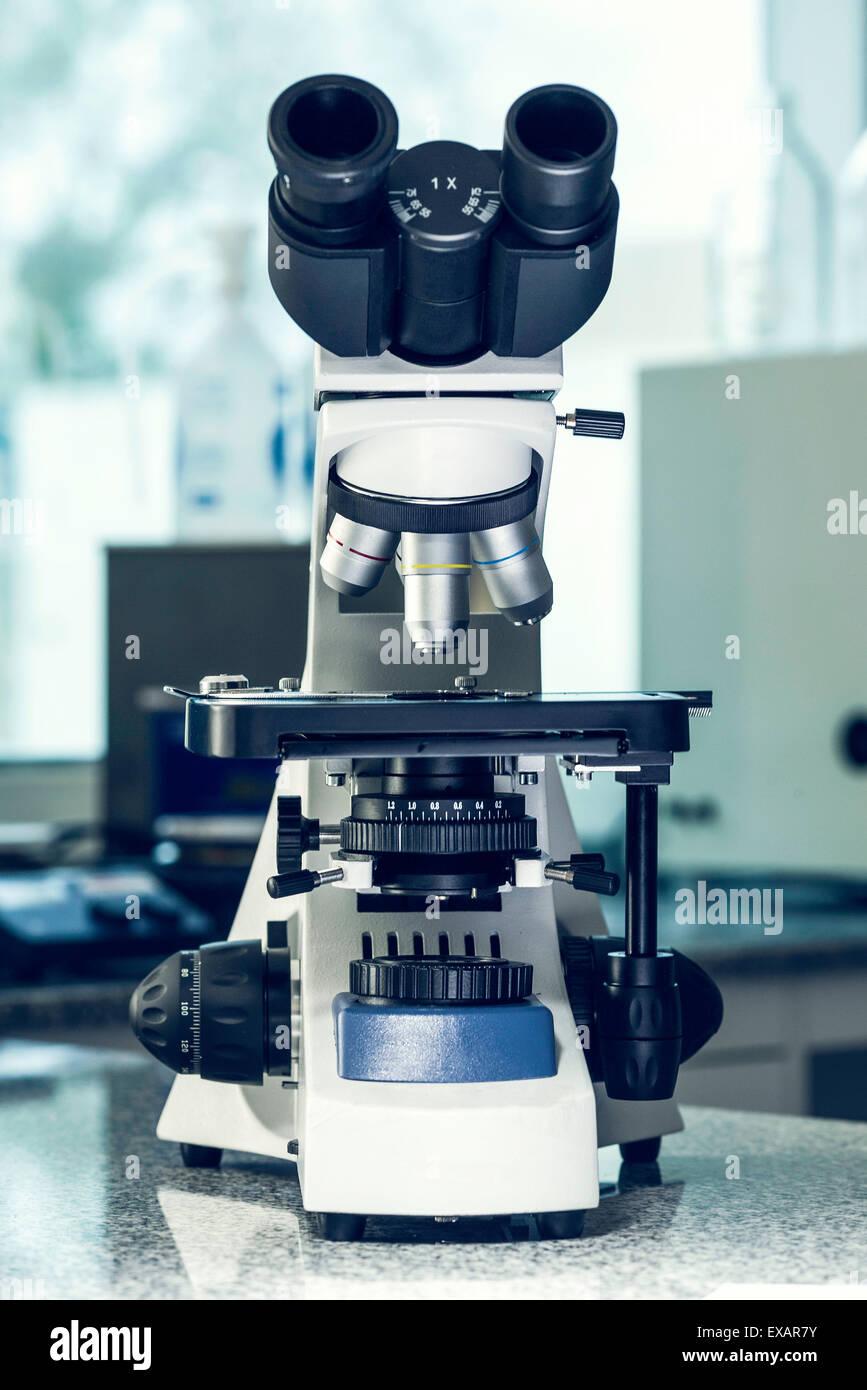 Microscope in laboratory - Stock Image