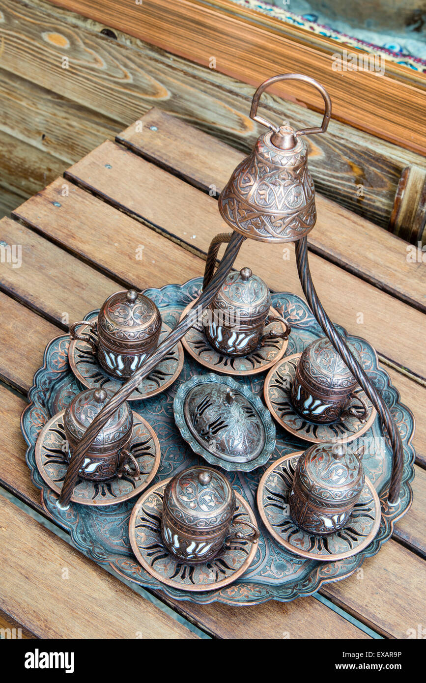 Typical copper made Turkish tray for serving coffee, Sirince, Turkey - Stock Image