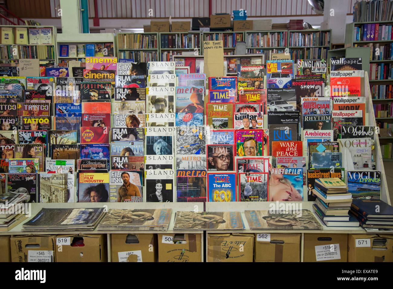 Goulds secondhand bookshop, vintage magazines, King Street, Newtown, Sydney, Australia Stock Photo
