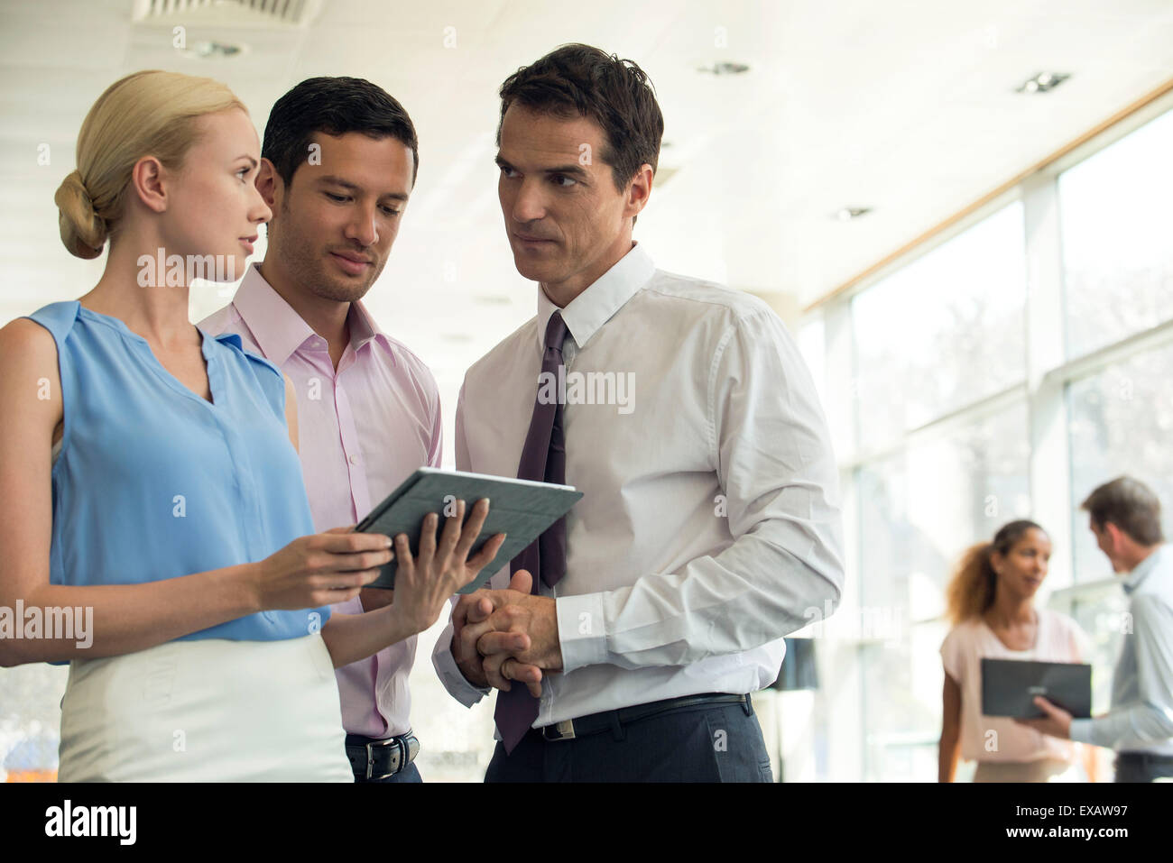 Colleagues looking at digital tablet together - Stock Image
