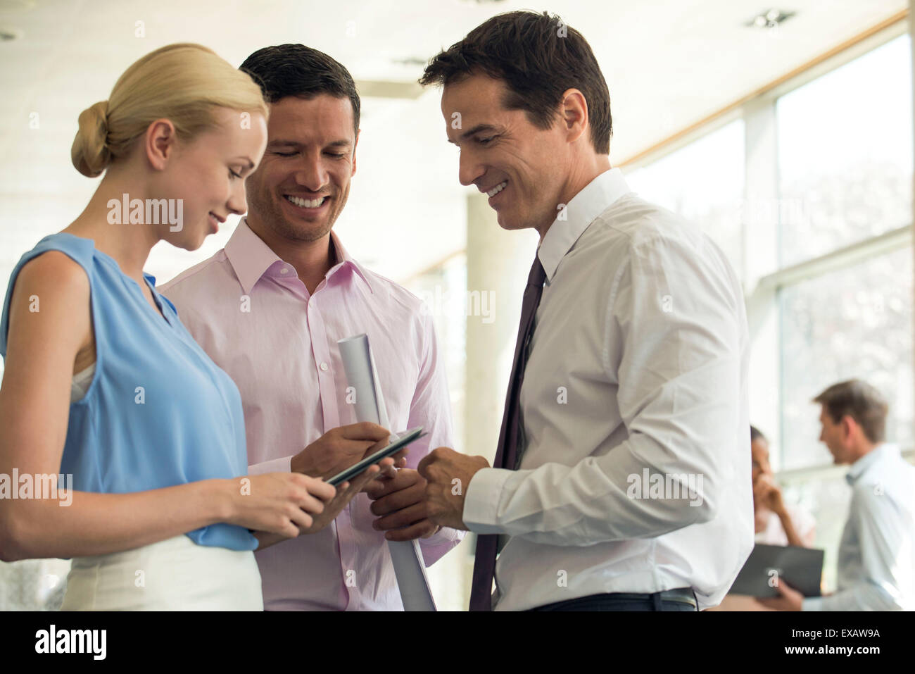 Business colleagues conversing and using digital tablet - Stock Image