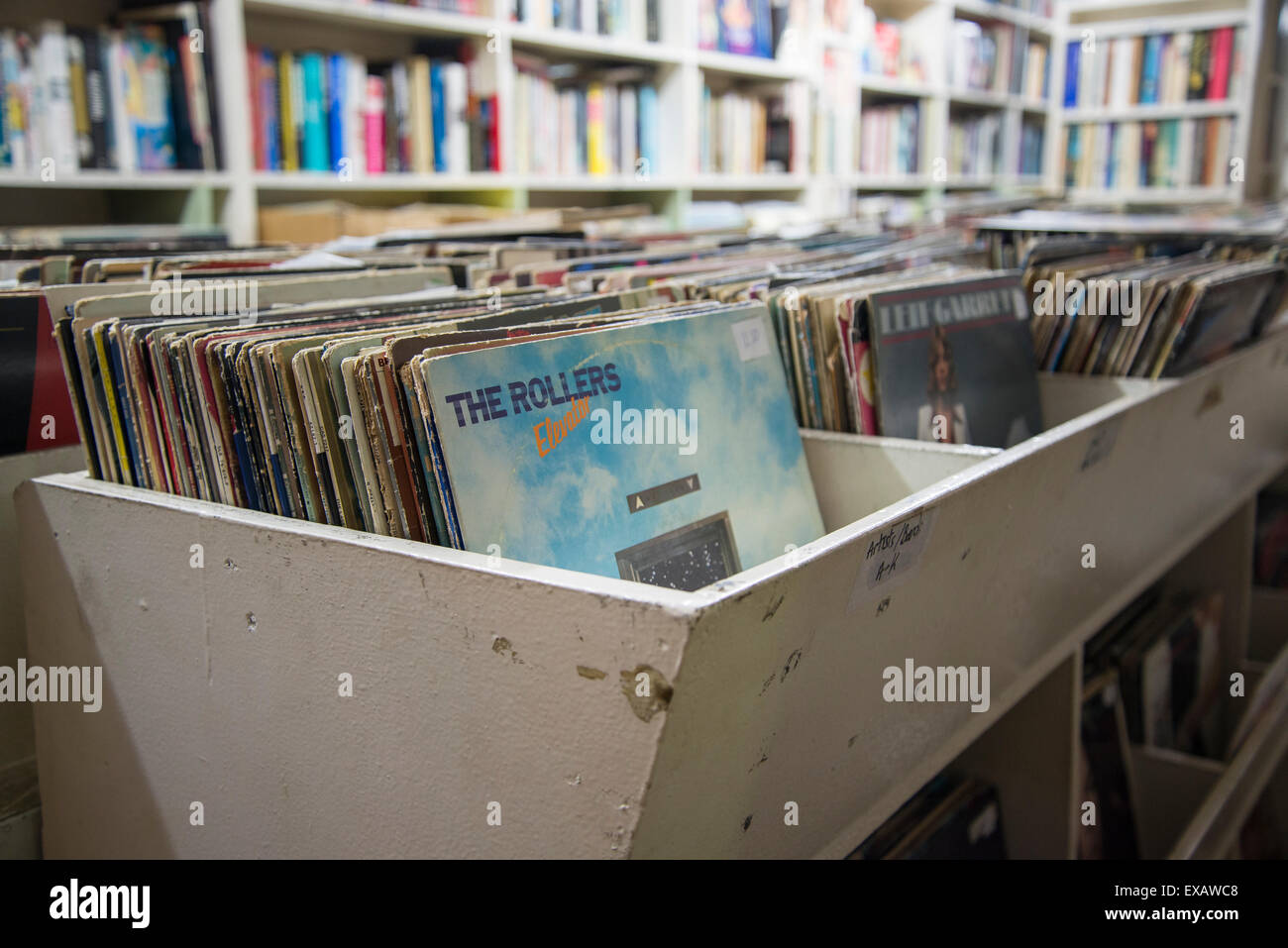 Goulds secondhand bookshop, vinyl records, King Street, Newtown, Sydney, Australia - Stock Image