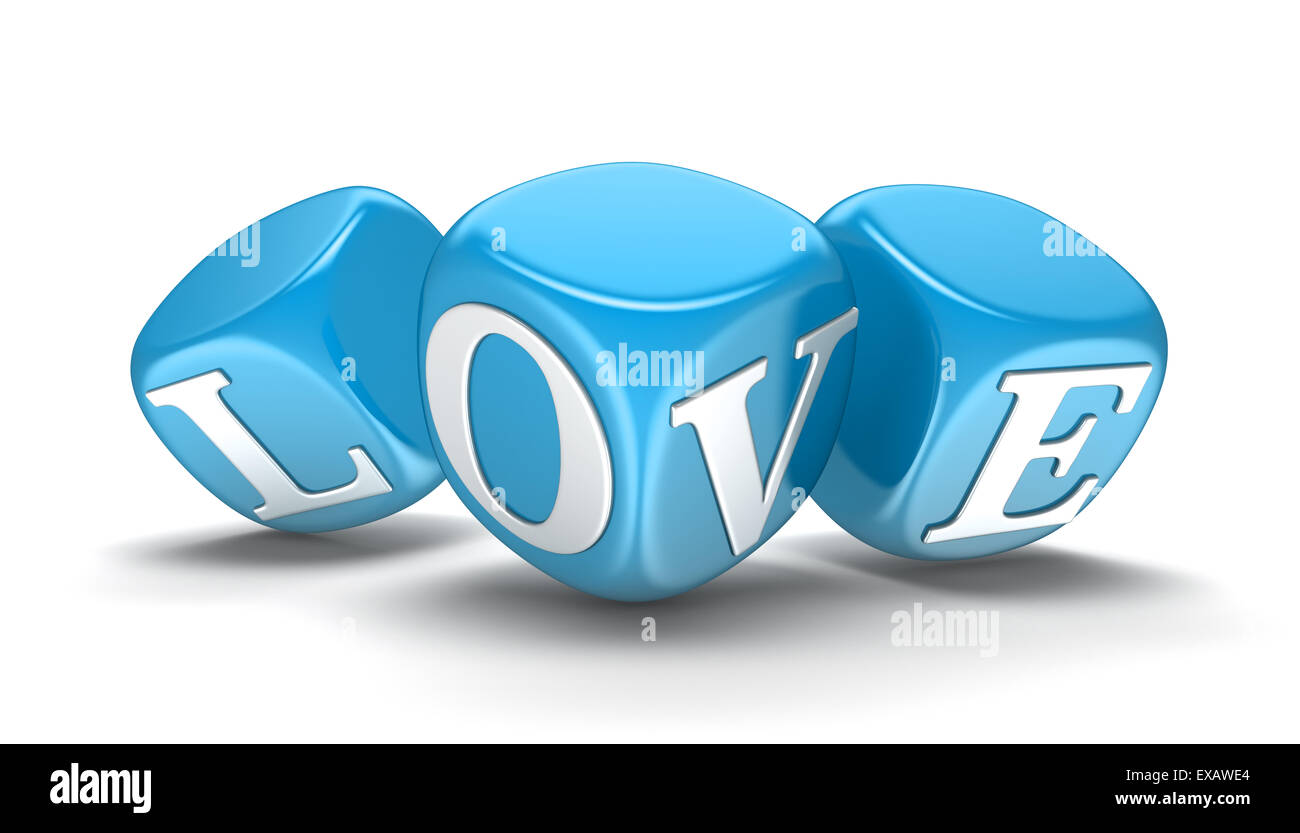 Dices and love (clipping path included) - Stock Image