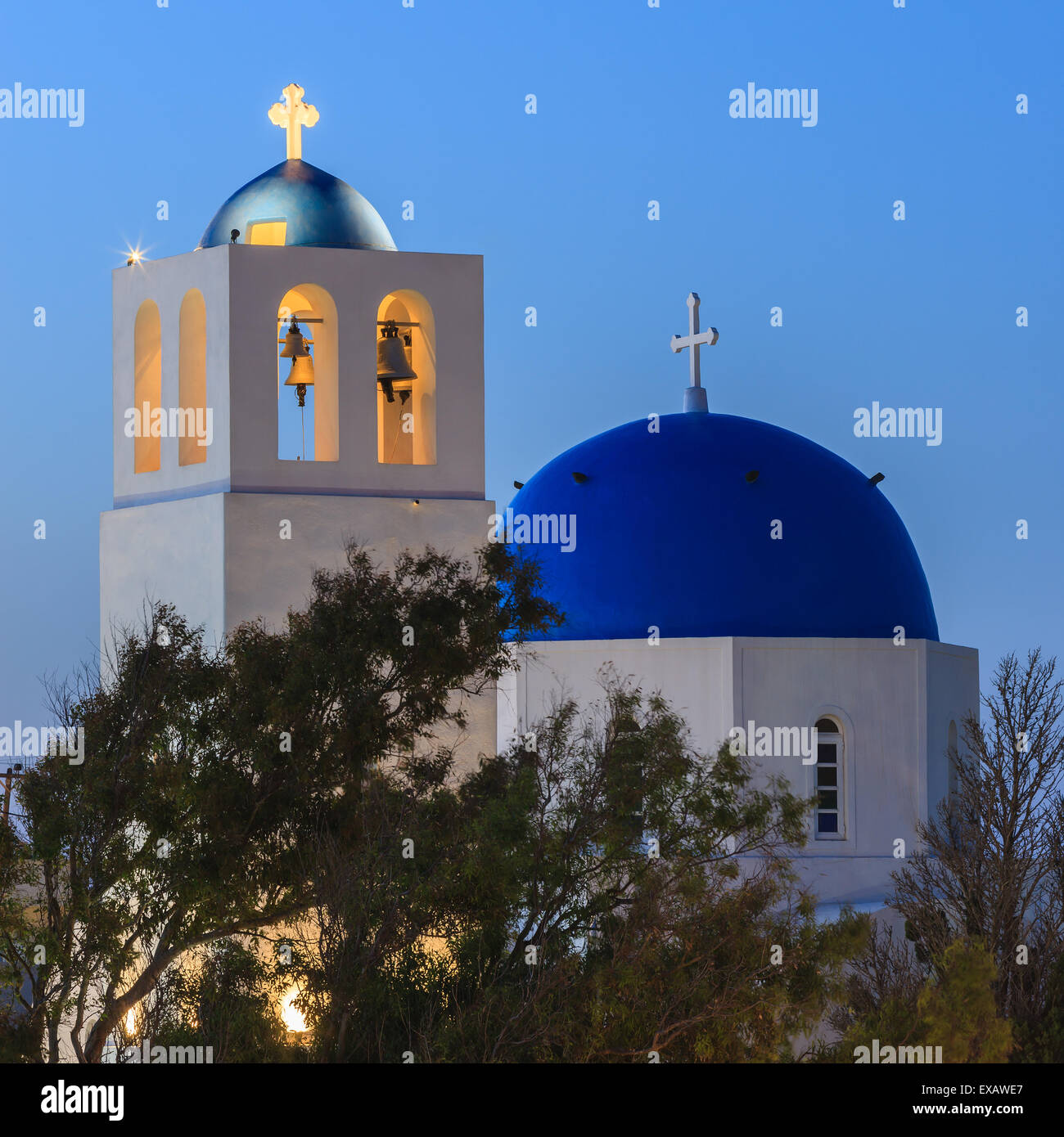 Aghios Gerassimos church at Firostefani on Santorini one of  Cyclades islands in Aegean Sea, Greece. - Stock Image