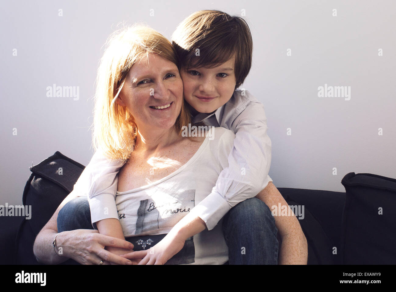 Mother and son, portrait - Stock Image