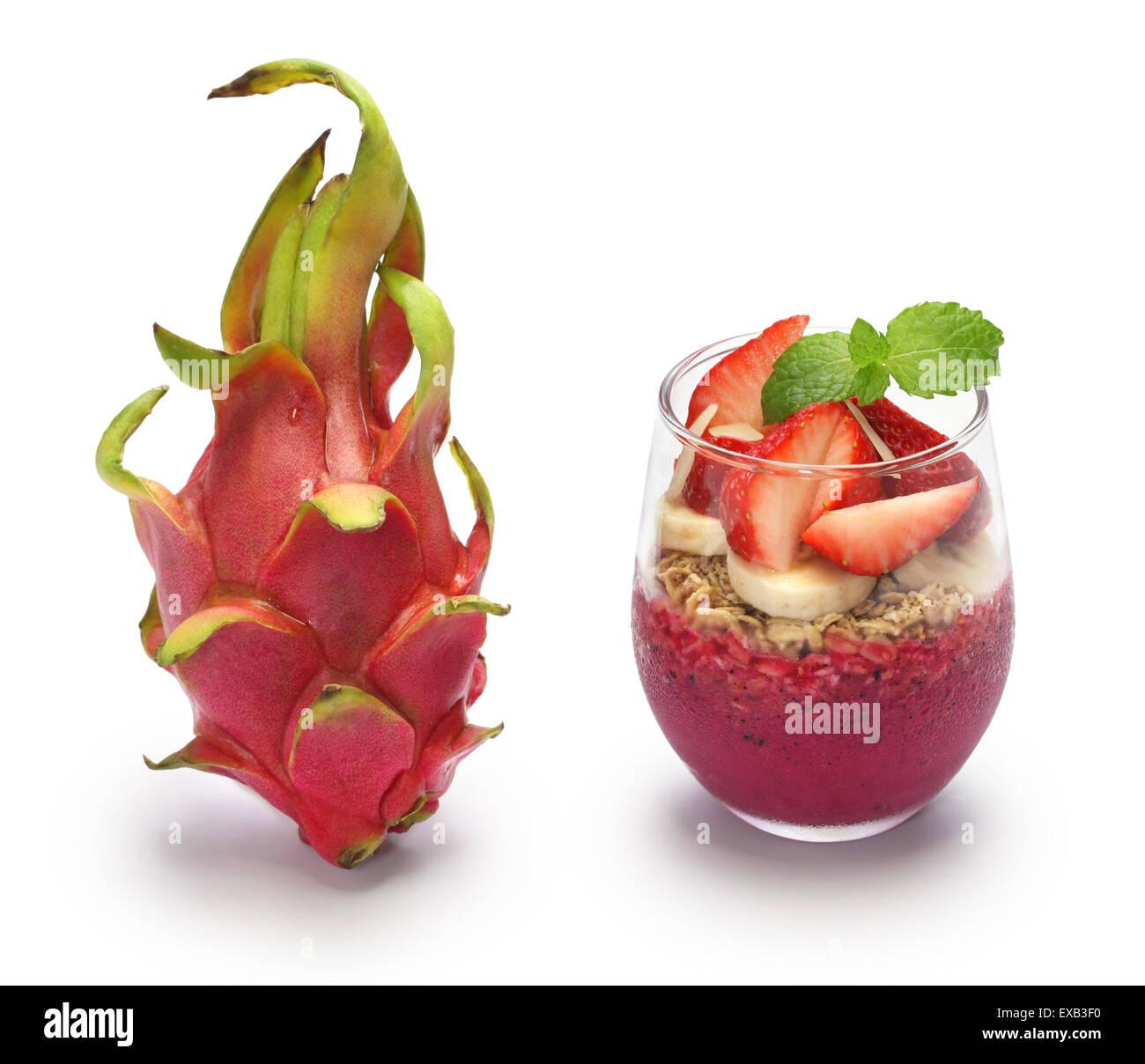 dragon fruit and pitaya bowl on white background - Stock Image