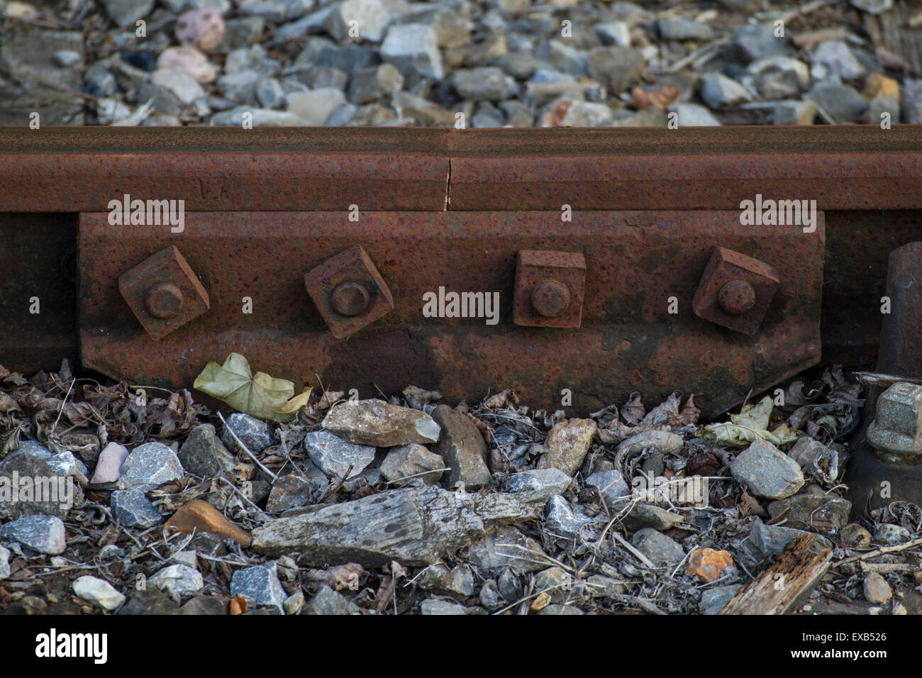 joiner for a railway track with nuts and bolts Stock Photo