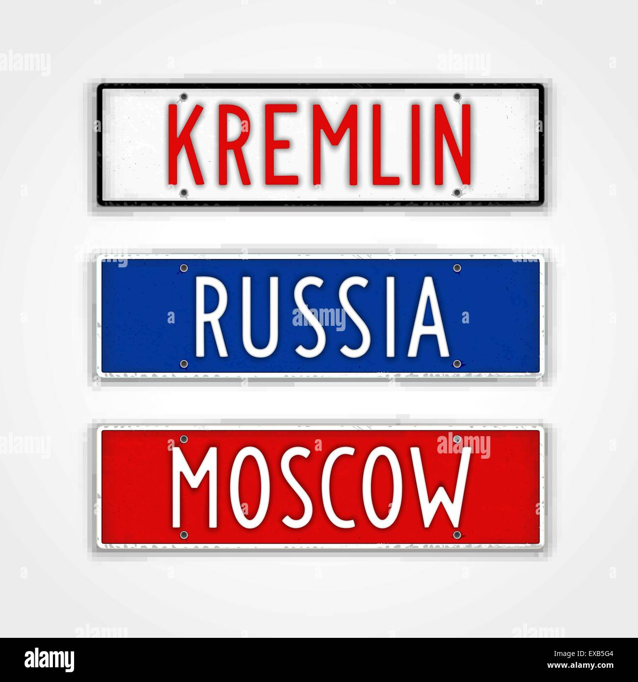 Set of stylized signboards in style car license plate. Russia, Moscow, Kremlin - Stock Vector