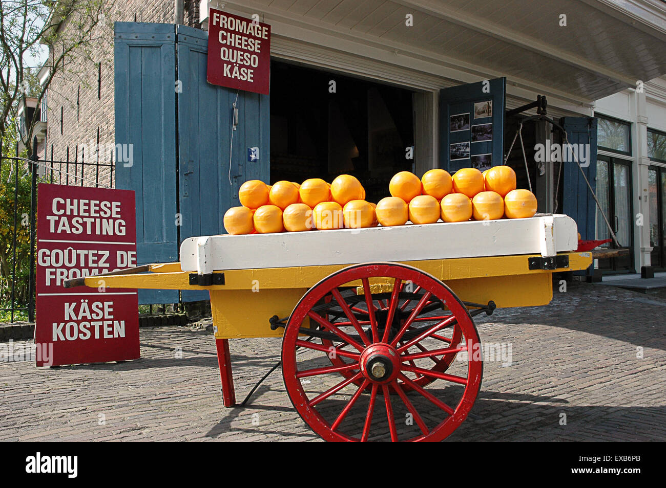 Edam cheese displayed in a store in the country - Stock Image