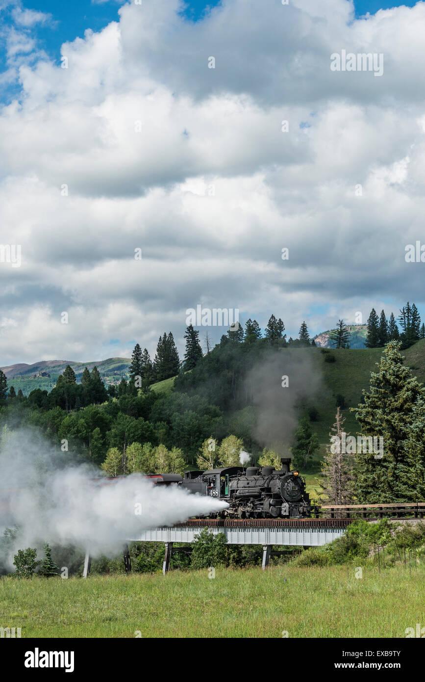 Steam locomotive engine 488 at Lobato Trestle, Cumbres & Toltec Scenic Railroad, Chama, New Mexico to Antonito, - Stock Image