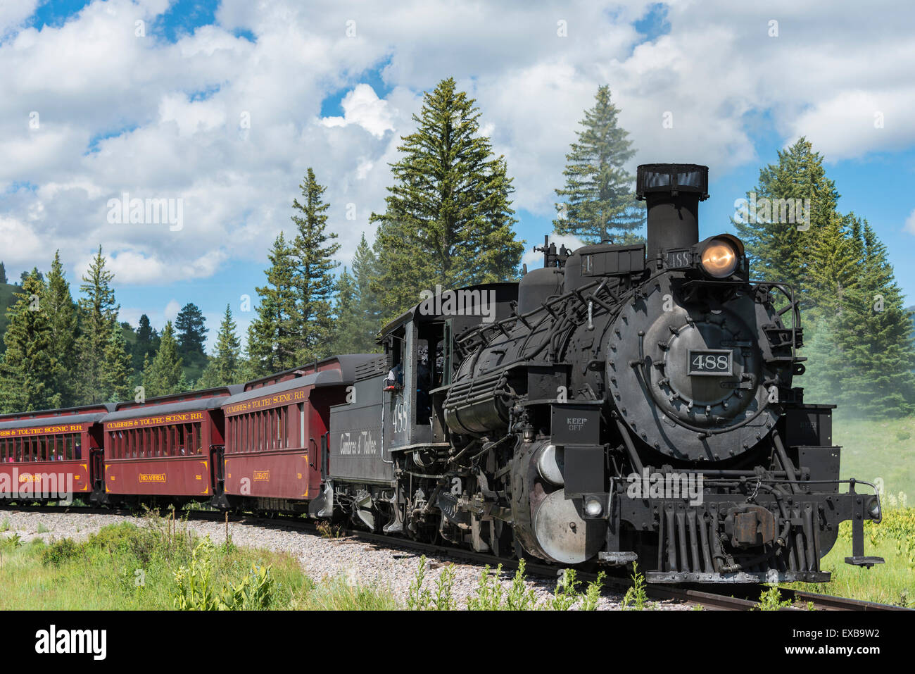Steam locomotive engine 488 at Lobato Trestle, Cumbres & Toltec Scenic Railroad, Chama, New Mexico to Antonito, - Stock Image