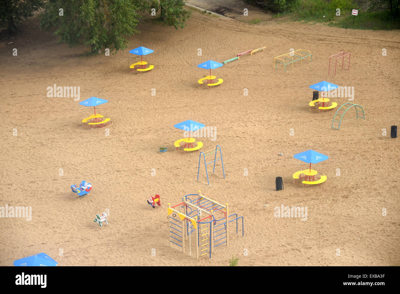 An aerial view  of a deserted playground in Nizhny Novgorod, Russia, 10 July 2015. Photo: Marcus Brandt/dpa - Stock Image