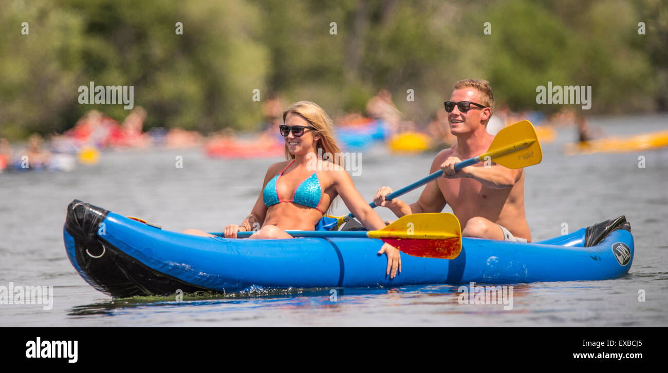 Floating the Boise River  Man and woman having fun Kayaking