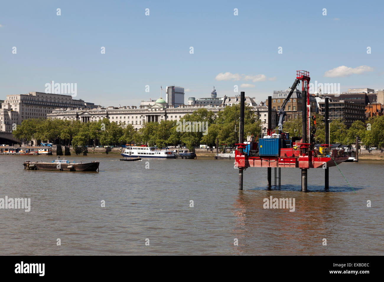 Exploratory boreholes drilled in the River Thames in prep. for the proposed Thomas Heatherwick designed Garden Bridge, - Stock Image