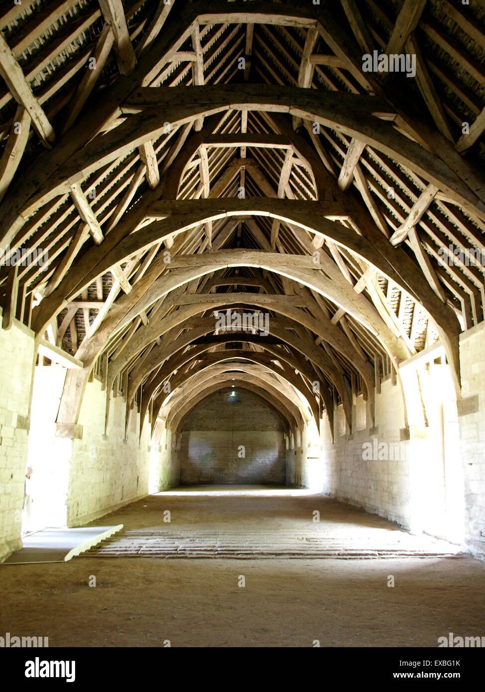 Interior of the 14th century medieval monastic stone barn ...