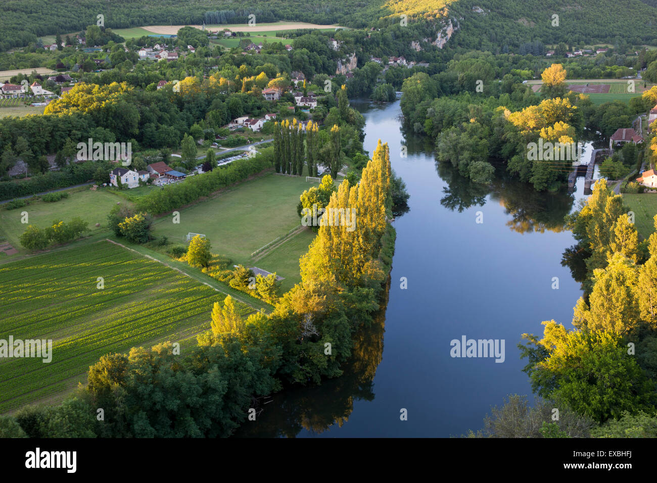 View of River Lot and Vallee du Lot from Saint-Cirq-Lapopie, Midi-Pyrenees, France Stock Photo