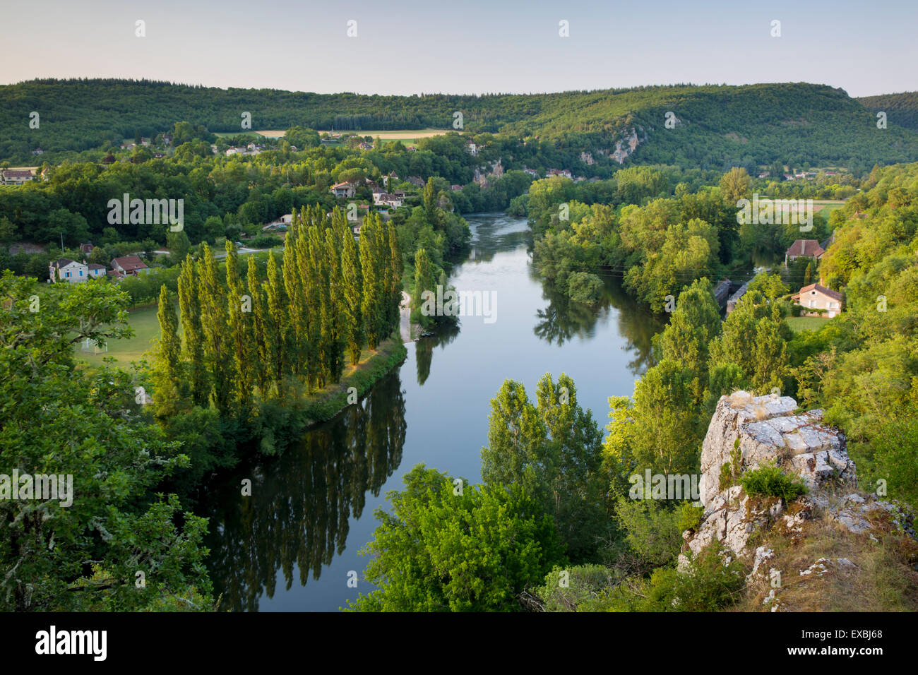 Evening view over River Lot from Saint-Cirq-Lapopie, Vallee du Lot, Midi-Pyrenees, France Stock Photo