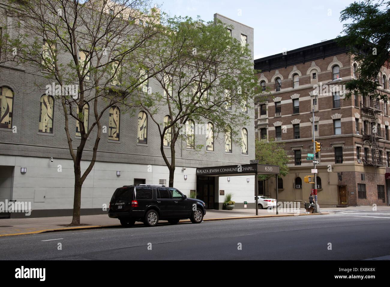 Plaza jewish Community Chapel on Amsterdam Avenue Manhattan NYC USA - Stock Image
