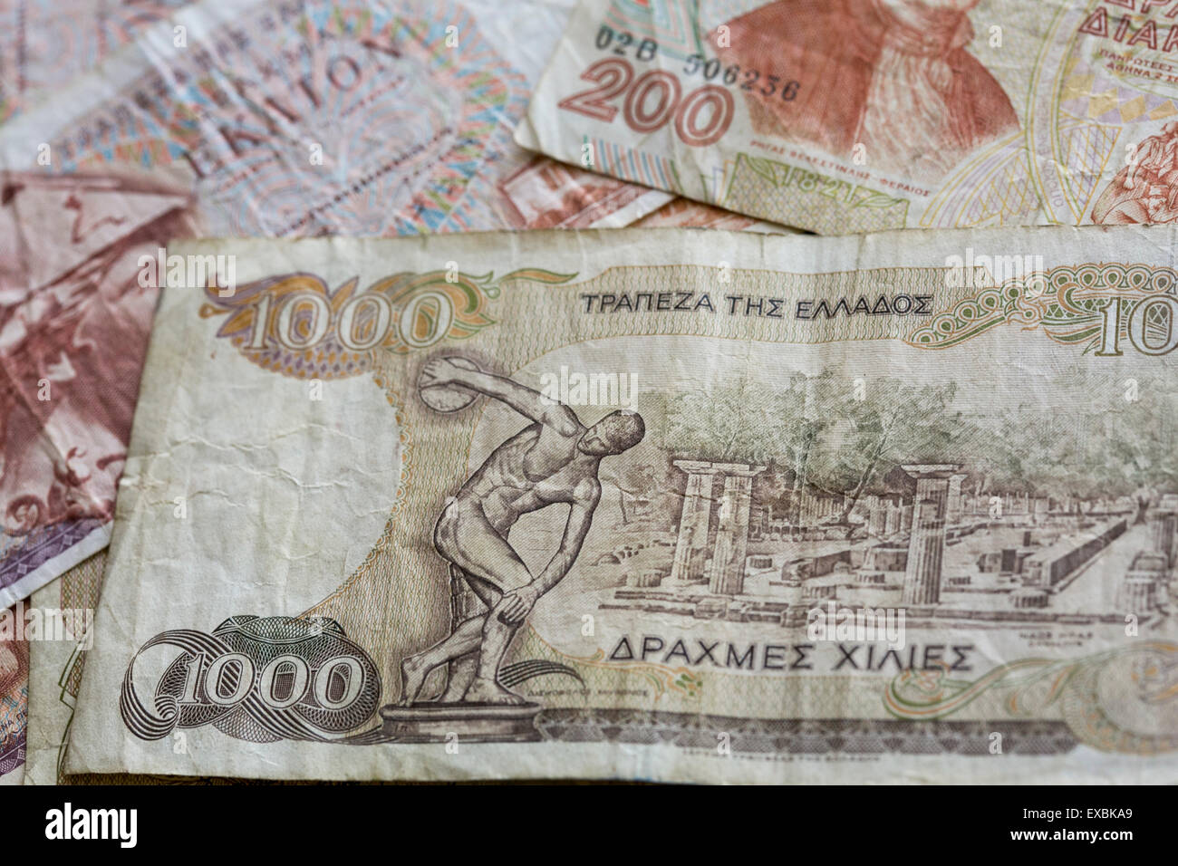 An arranged photo showing obsolete Greek Drachma currency notes in from the pre-Euro currency era. - Stock Image