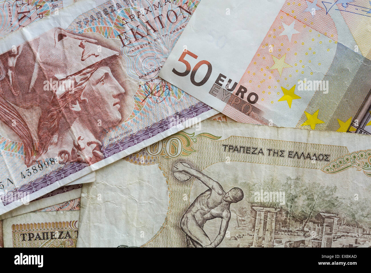 An arranged photo showing obsolete Greek Drachma currency notes in from the pre-Euro currency era as well as a 50 - Stock Image