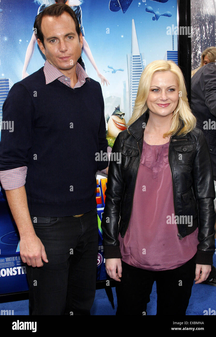 Will Arnett and Amy Poehler at the Los Angeles premiere of 'Monsters vs. Aliens'. - Stock Image