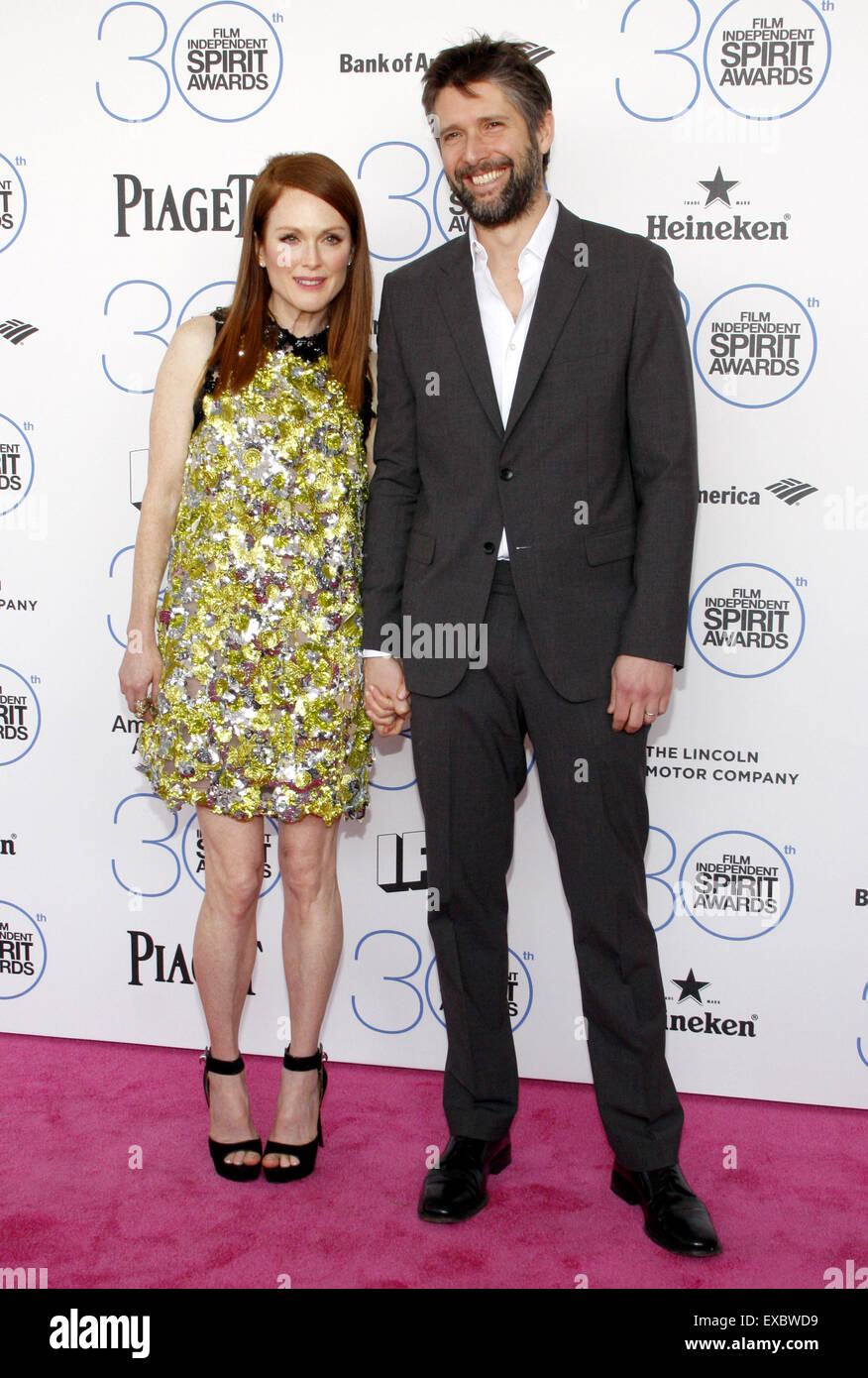 Julianne Moore and Bart Freundlich at the 2015 Film Independent Spirit Awards. - Stock Image