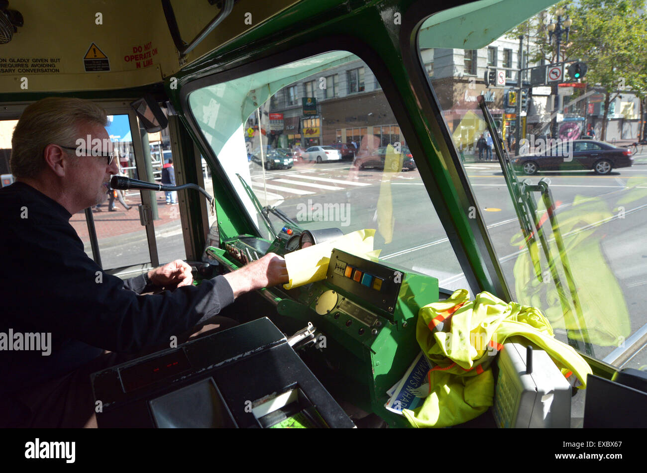 SAN FRANCISCO - MAY 15 2015:Driver of San Francisco's original double-ended PCC streetcars.it's one of the - Stock Image