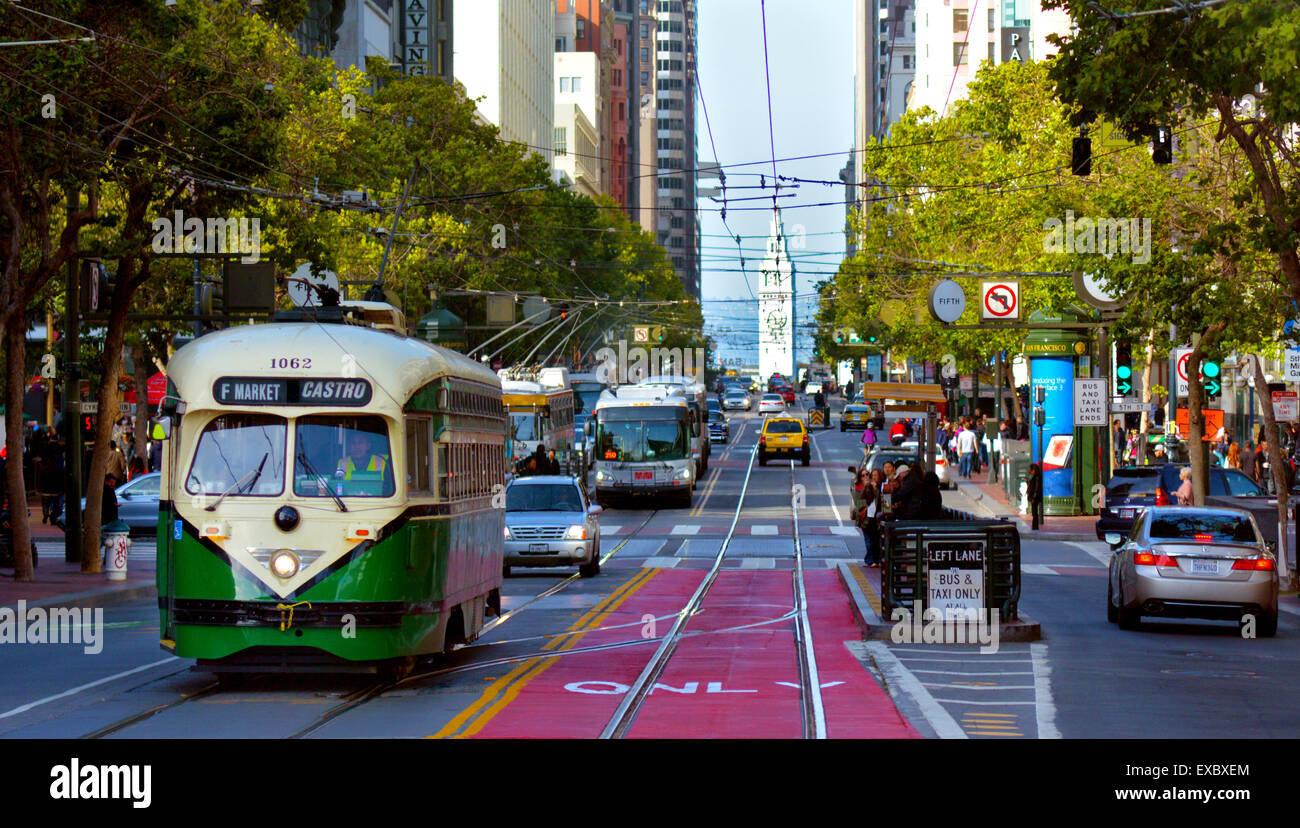 SAN FRANCISCO - MAY 15 2015:One of San Francisco's original double-ended PCC streetcars, on Market Street.In - Stock Image