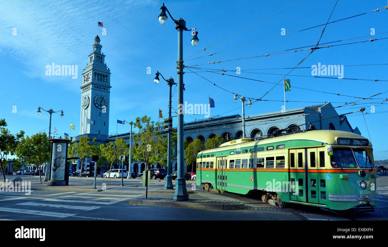 SAN FRANCISCO - MAY 15 2015:One of San Francisco's original PCC streetcars in SF Ferry Building. itÕs one - Stock Image