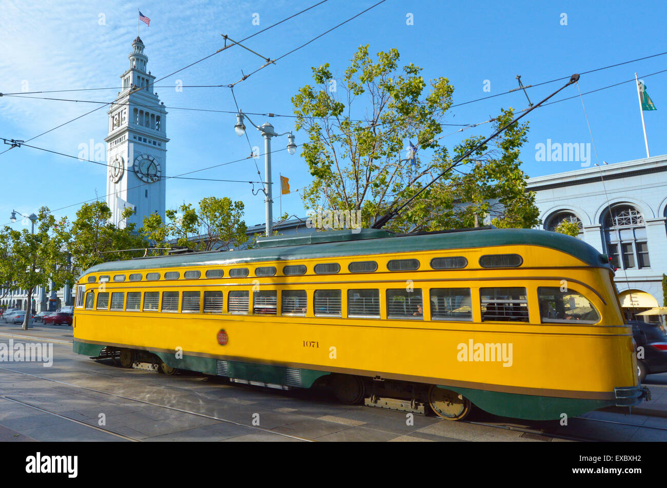 SAN FRANCISCO - MAY 15 2015:One of San Francisco's original double-ended PCC streetcars, in San Francisco Ferry - Stock Image