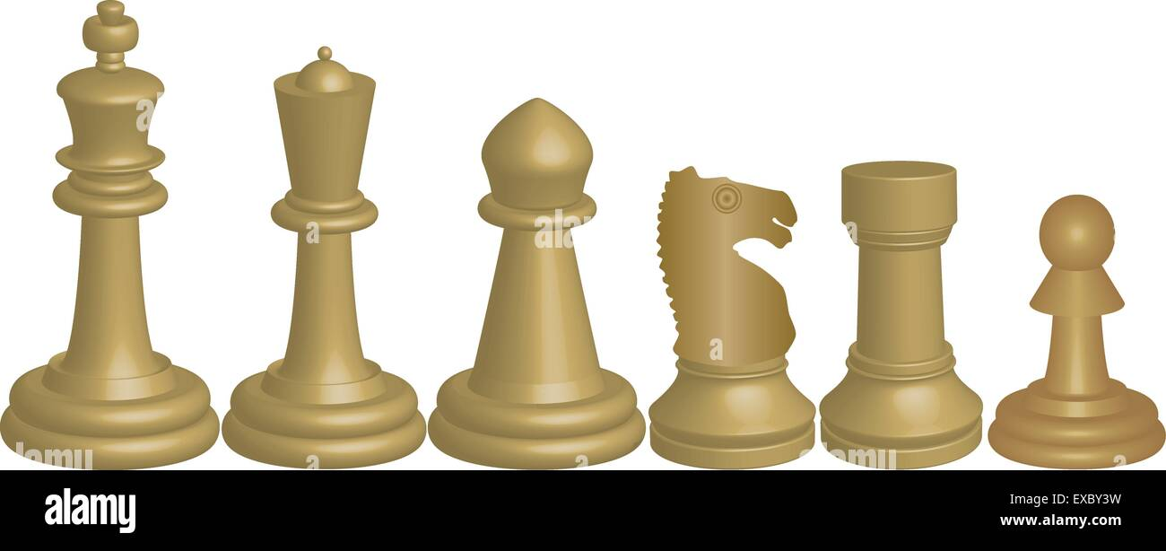 A Vector image of White Chess Pieces King Queen Bishop
