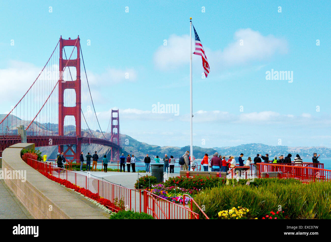 SAN FRANCISCO - MAY 19 2015: Visitors at Golden Gate Bridge. Frommers travel guide considers Golden Gate Bridge - Stock Image