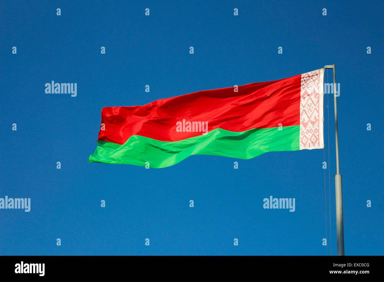 Flag of Belarus blue sky background better Minsk - Stock Image