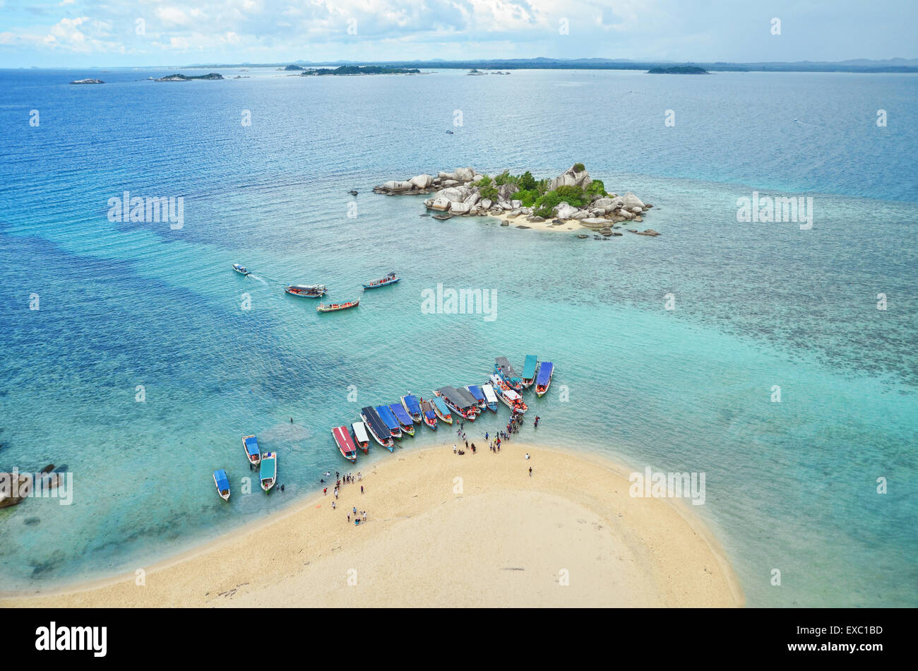 Aerial view of South China Sea from the top of lighthouse in Lengkuas Island - Stock Image