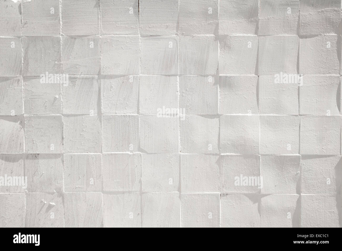 Square tiles white rough textured wall pattern background Stock ...