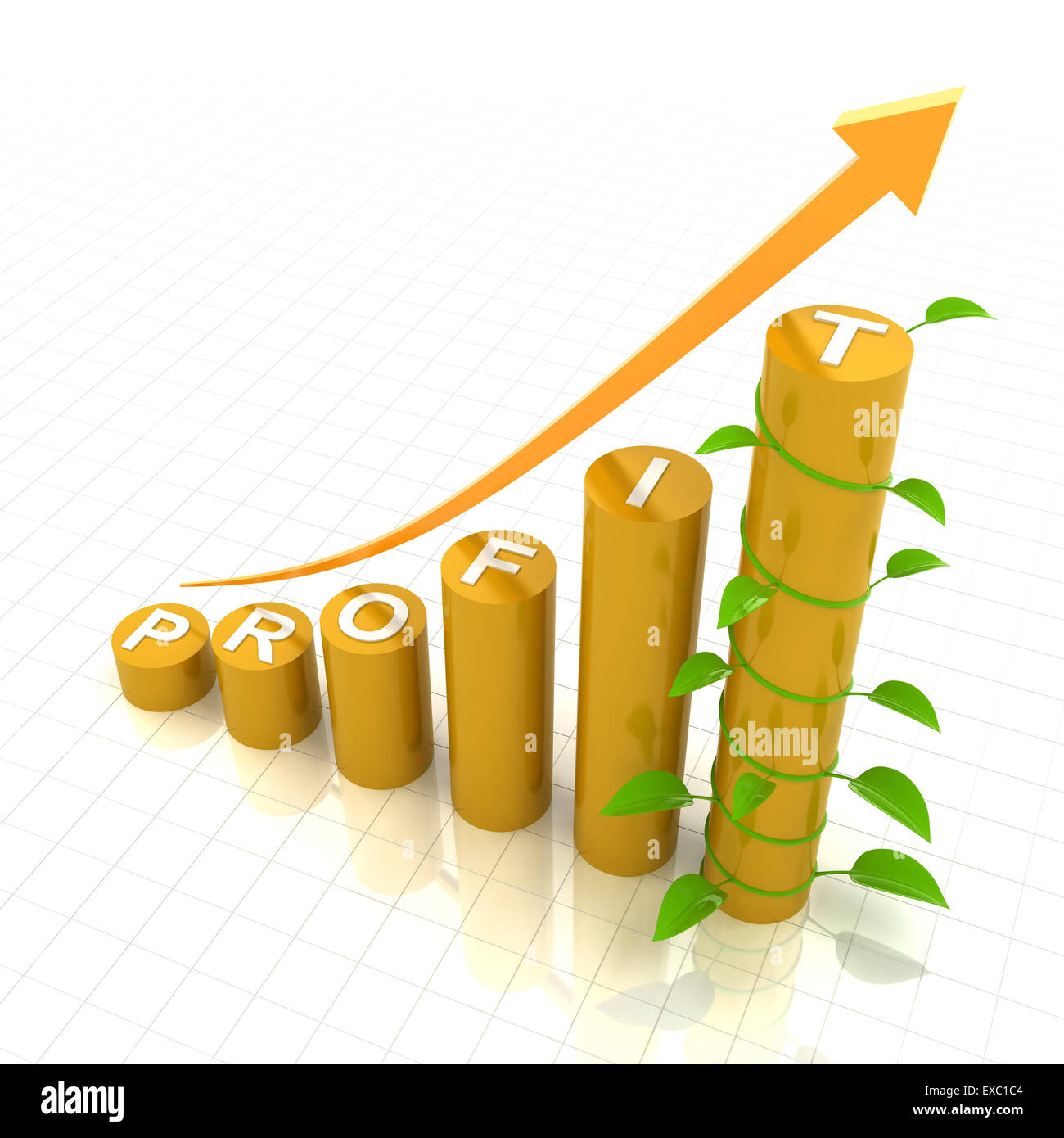 Profit growth chart with young plant, 3d render - Stock Image