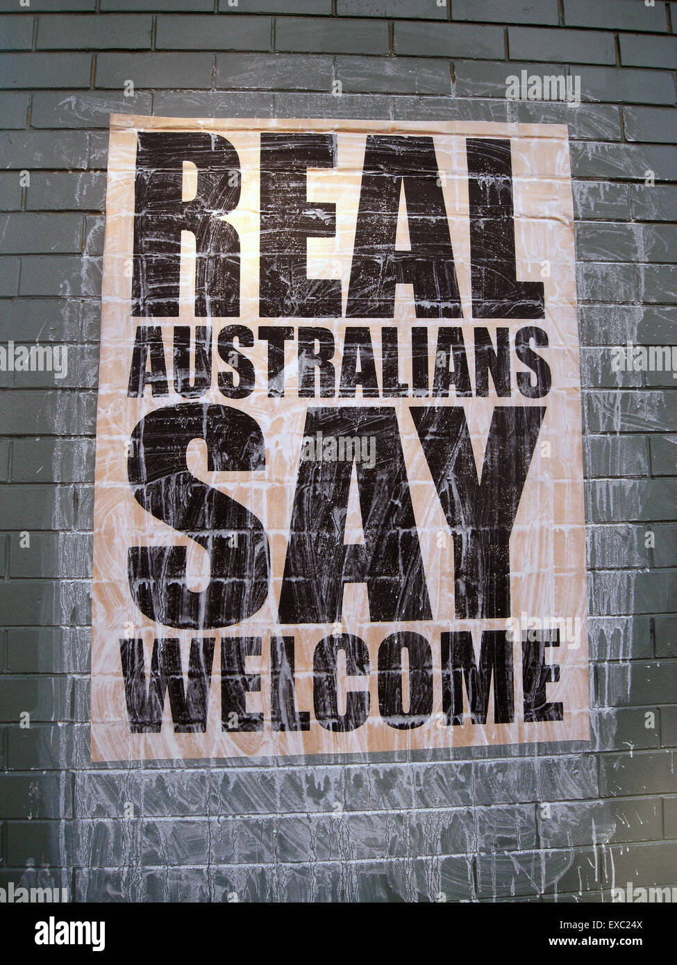Perth, Australia. 11th July, 2015. As a nation built on immigration and multiculturalism, not all Australians support - Stock Image