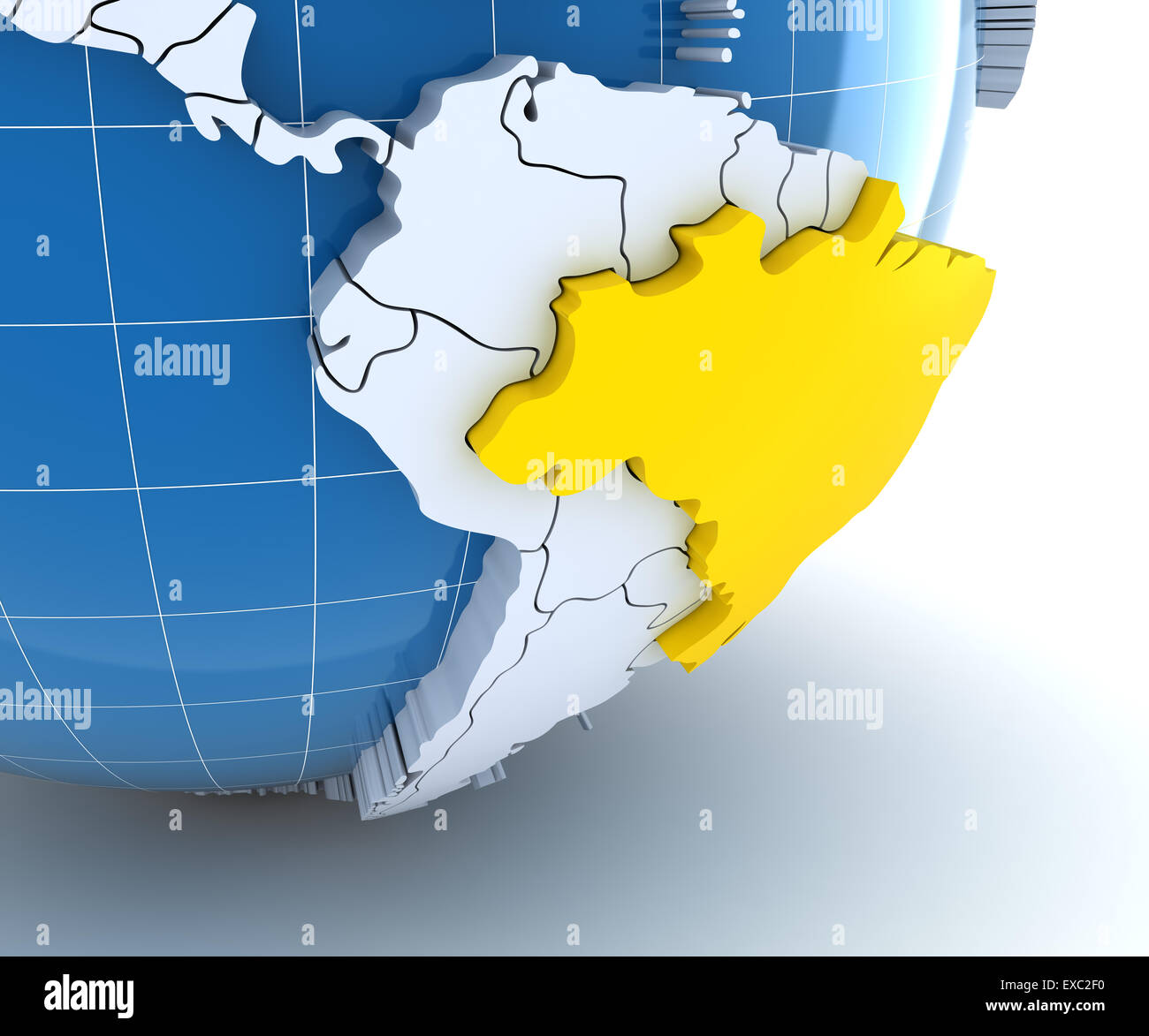 Brazil map globe stock photos brazil map globe stock images alamy globe with extruded continents close up on brazil stock image gumiabroncs Image collections