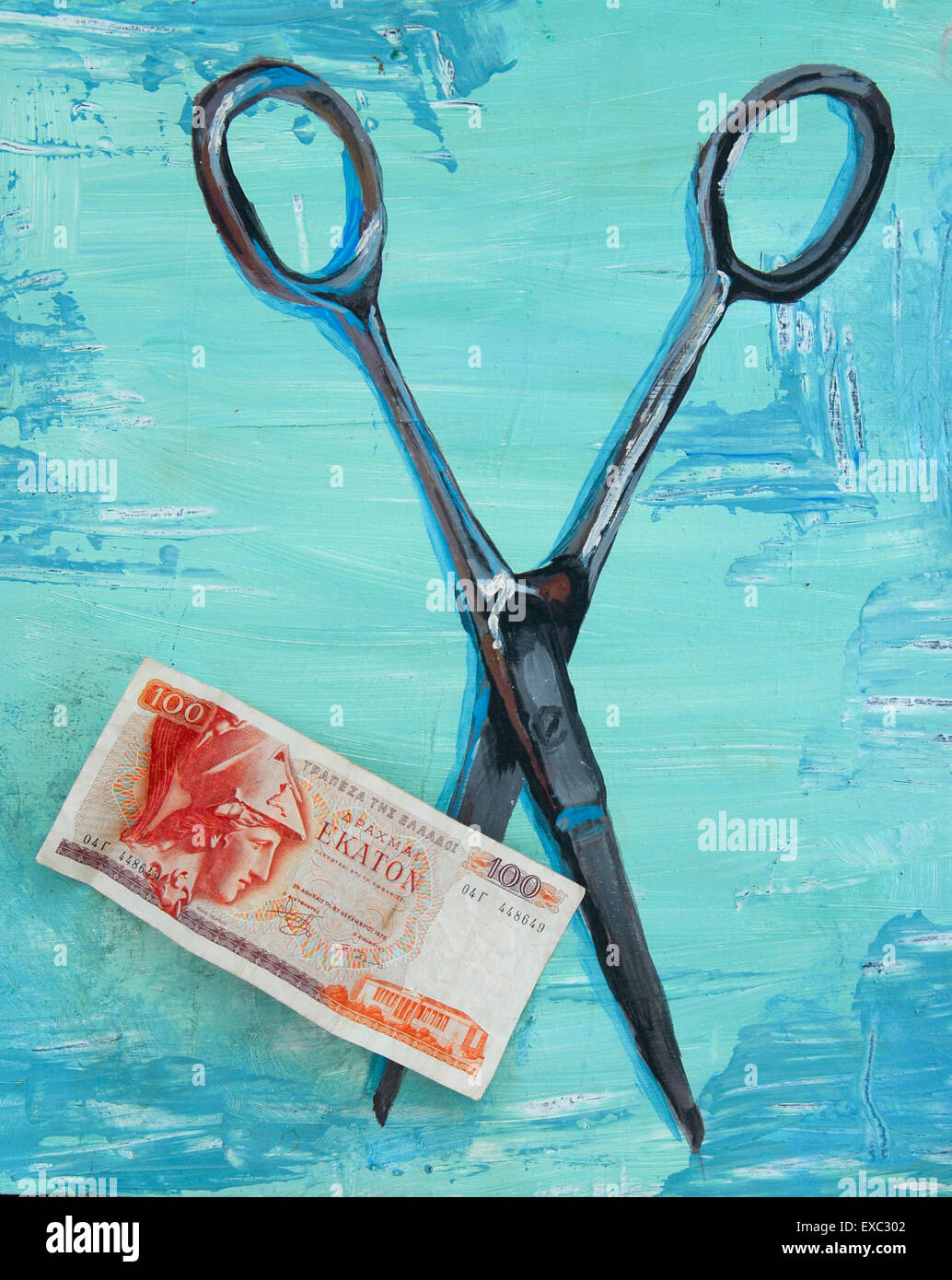 Greek 100 Drachma note on a 'Greek blue' painting of opened scissors. Painting by Sophie Fretwell ( Property - Stock Image