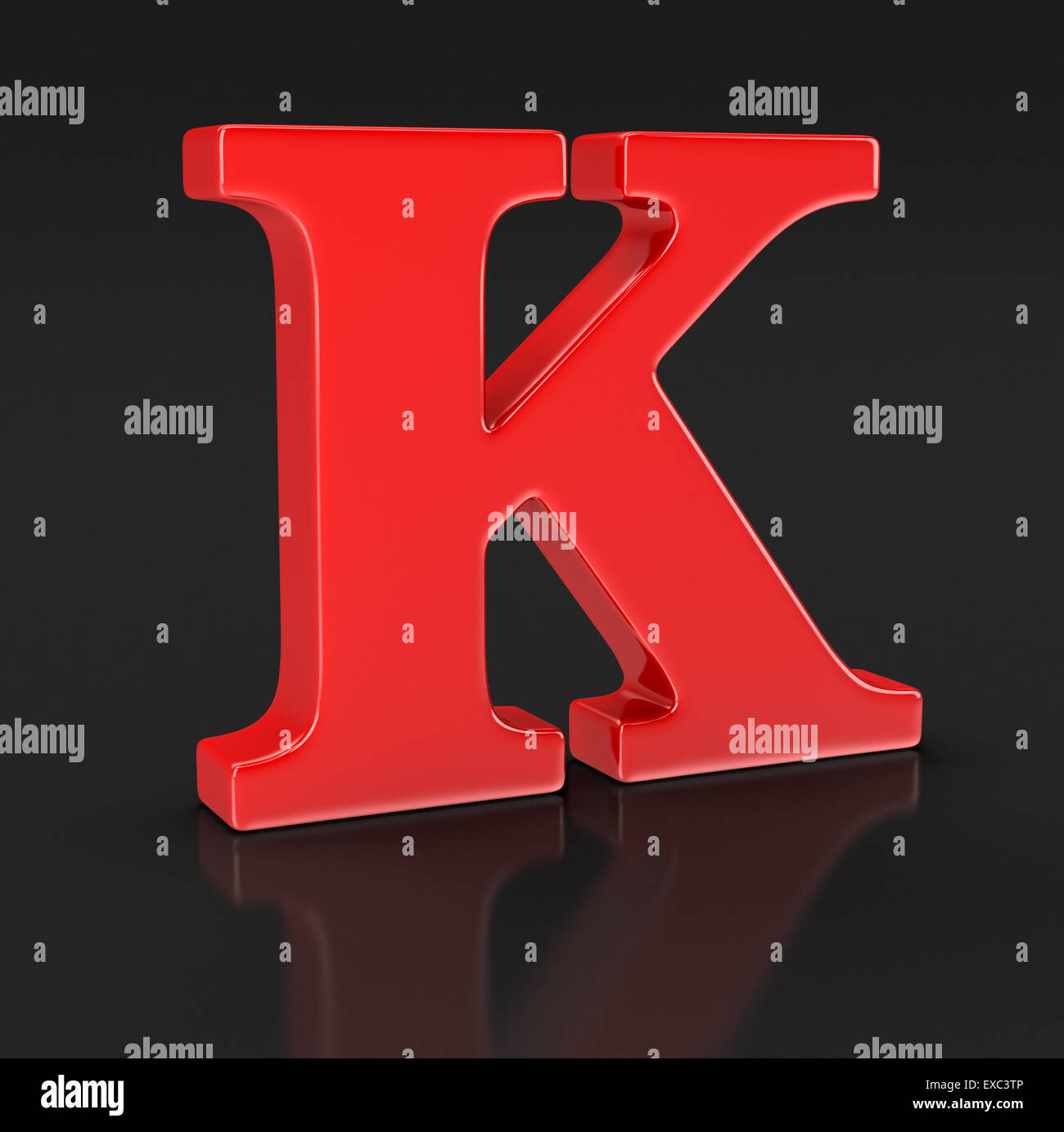 Letter K (clipping path included) - Stock Image