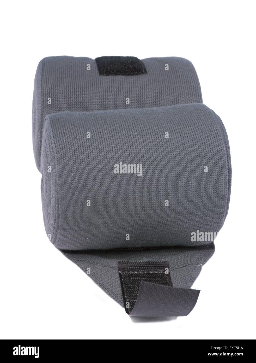 horse grey knitwear bandages isolated on white - Stock Image