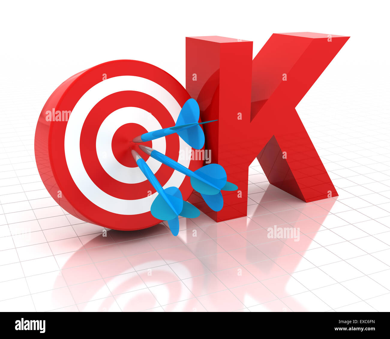 Okay symbol with target, 3d render - Stock Image