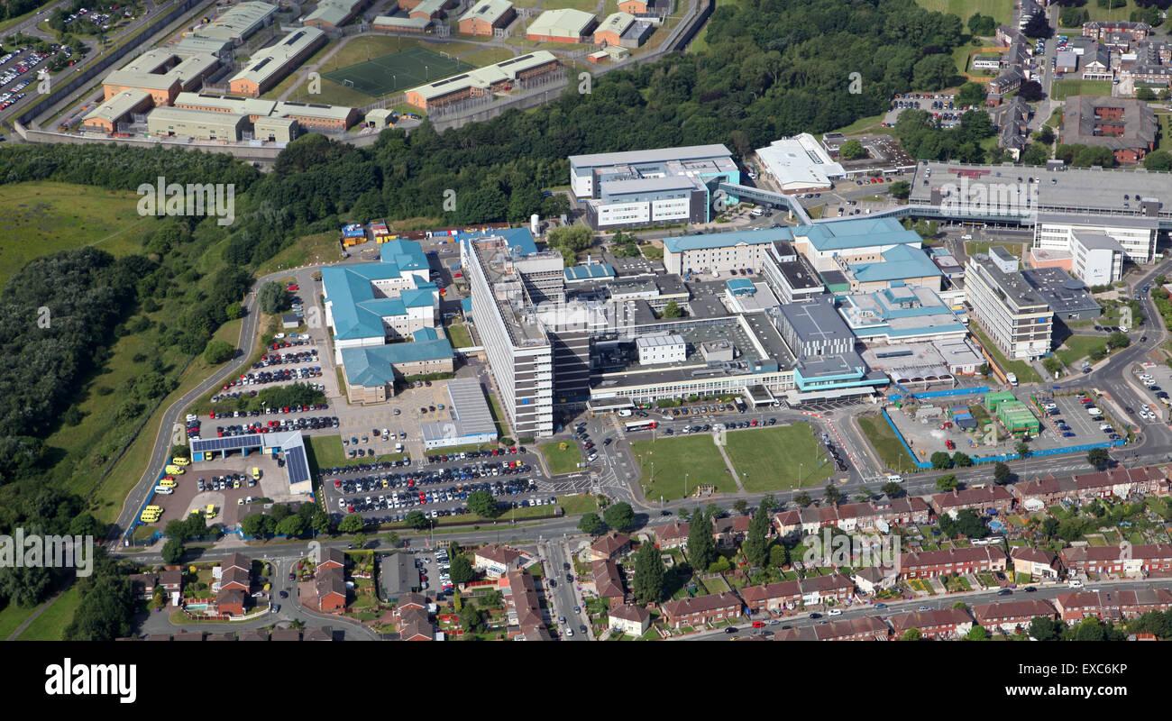 aerial view of Aintree University Hospital, Liverpool, UK - Stock Image