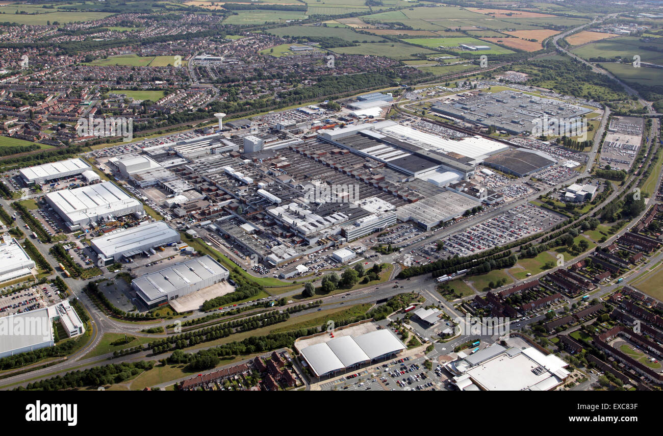 aerial view of the Jaguar Land Rover car manufacturing plant at Halewood, Liverpool, UK - Stock Image