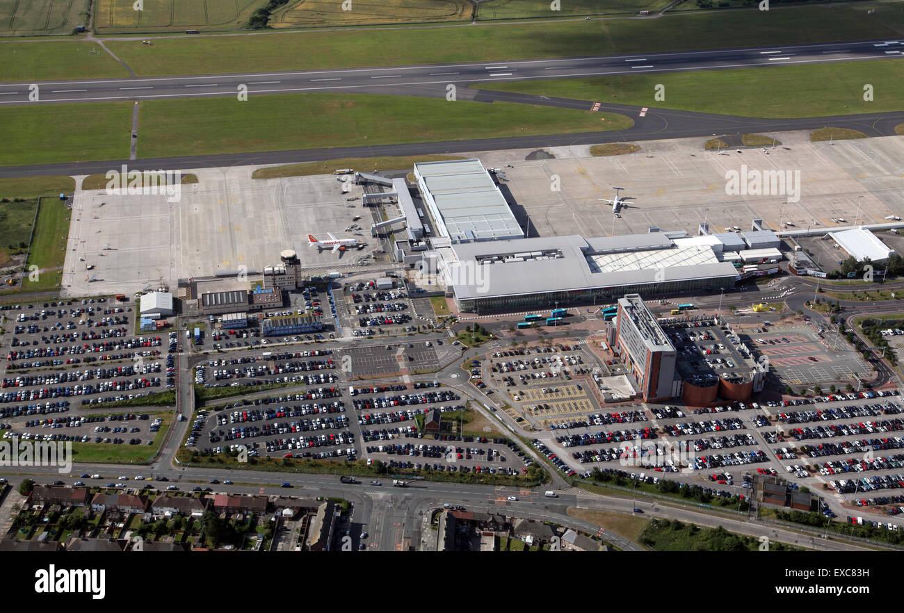 aerial view of Liverpool John Lennon Airport terminal buildings, Merseyside, UK - Stock Image