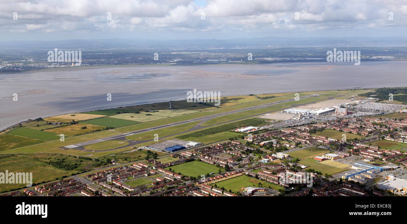 aerial view of Liverpool John Lennon Airport, Merseyside, UK - Stock Image