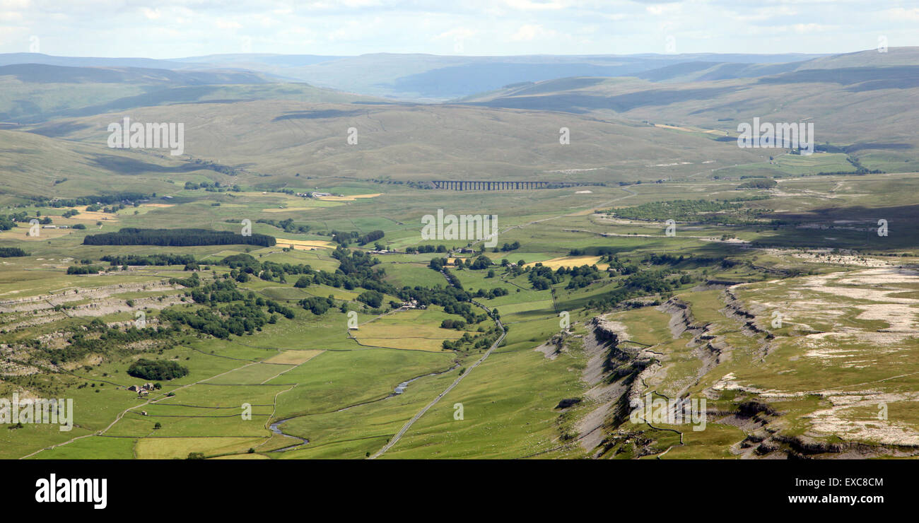 aerial view of Ribblehead Viaduct (in the distance there!) on the Settle to Carlisle railway route, UK - Stock Image
