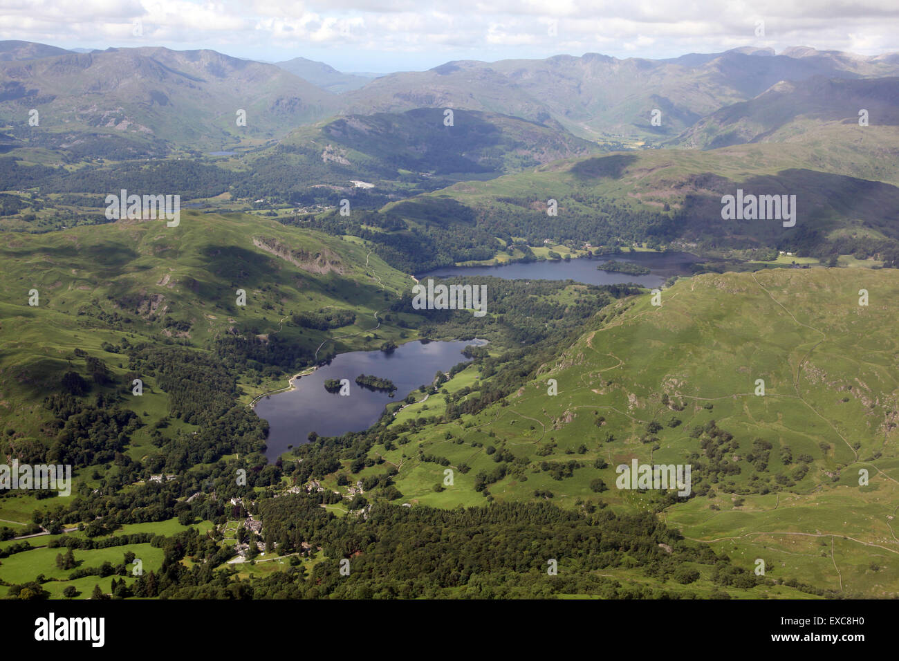 aerial view of Rydal Water & Grasmere in the Lake District, Cumbria, UK - Stock Image
