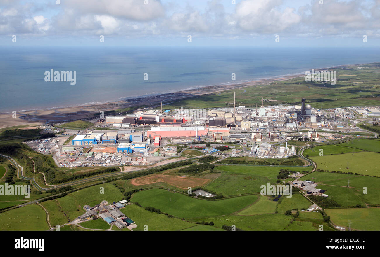 aerial view of Sellafield nuclear reprocessing plant in Cumbria, UK - Stock Image
