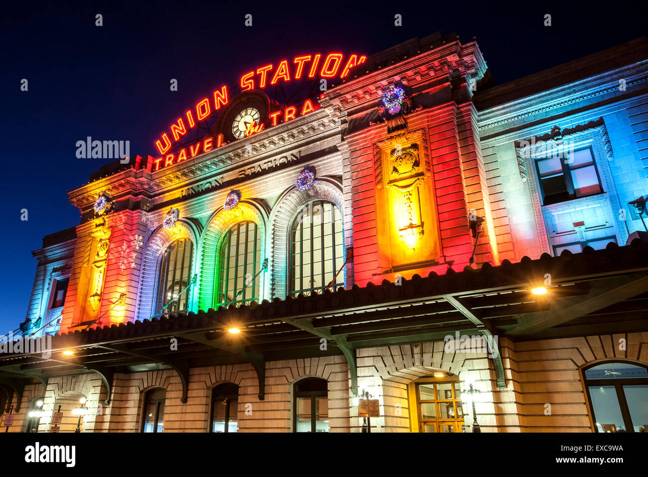 Christmas In Denver Colorado.Union Station Decorated With Christmas Lights Denver